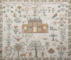 An 19th century sampler Depicting a central design of a house surrounded by trees, birds and figures with a scene of Adam and Eve, by Nancy Lees 1820