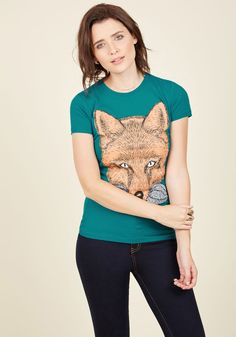 Think Bigote Cotton T-Shirt. Imagine an amazing animal - a red fox, of course - and now make it even better with a silvery mustache. #green #modcloth