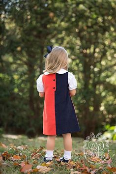 Kennedy Colorblock Dress - Old Dominion Orange with Nantucket Navy - The Beaufort Bonnet Company