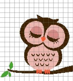Pink owl eyes closed Pattern $4.00