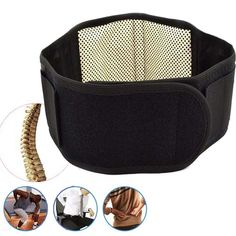Black New Soft Magnetic Therapy Waist Spontaneous Heating Brace Support Protection Belt H7JP