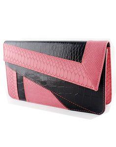 #Red #Black #Crocodile #Leather #Clutch #Bag