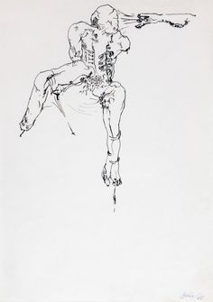 Günter Brus, untitled, 1966 Muse Art, Sketches, Drawings, Pastels, King, Inspiration, Black And White Drawing, Color, Water Colors