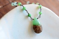 Sterling Silver Chrysoprase Necklace  Bicolor by JooniJewelry