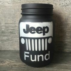 This listing is for Jeep Fund mason jars in various sizes! Does someone you know spend days at a time working on their jeep and always looking for parts? Then they would love a Jeep Fund jar! Auto Jeep, Jeep Jk, Jeep Cars, Jeep Truck, Mason Jars, Mason Jar Crafts, Mason Jar Bank, Maserati, Jimny Suzuki