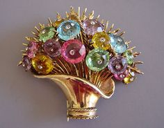 DEROSA sterling vermeil basket fur clip with pastel faceted glass lozenges, each tipped with a clear rhinestone (Morning Glory antiques and jewelry)