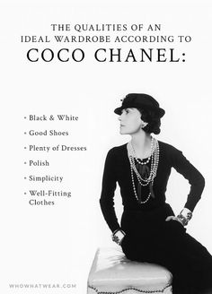 I so heartily agree with Coco Chanel& Definitive Views on a Woman& War. I so heartily agree with Coco Chanel& Definitive Views on a Woman& Wardrobe via Only having grown stouter, I don& look so good in dresses anymore! Look Fashion, Fashion Beauty, Fashion Tips, Fashion Trends, Feminine Fashion, Womens Fashion, Fashion Black, Fashion Websites, Fashion History