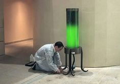 A cylindrical algae-powered lamp that requires no electricity, completely self-sufficient, wherein all the energy produced during photosynthesis is collected and stored in a battery that helps to power the light during the evenings. Created by French biochemist Pierre Calleja