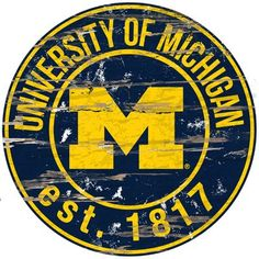 Fan Creations NCAA Michigan Wolverines 12 Round Dads Garage Wood Sign