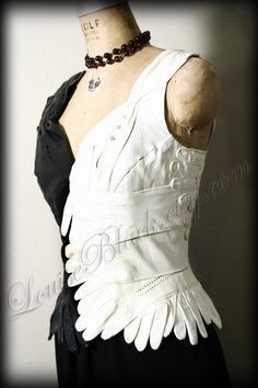 ON HOLD for CarrieAnn   Avant Garde Circus Side Show  inspired Corset Glove Top by Louise Black. $1.00, via Etsy.