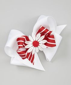 This White & Red Stripe Flower Layer Bow Clip Set by Picture Perfect Hair Bows is perfect! #zulilyfinds