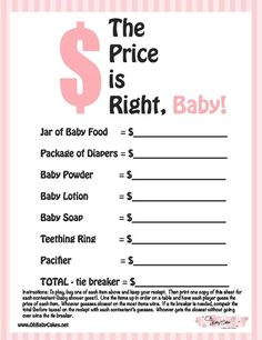 The price is right babyshower game