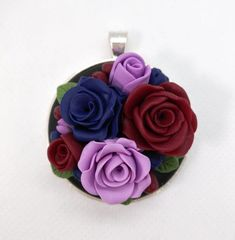 Polymer Clay Multi colores Roses blue red and lavender by NadoandLola on Etsy