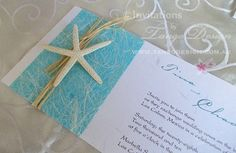 Beach themed wedding invitations with starfish and raffia - Sample invites