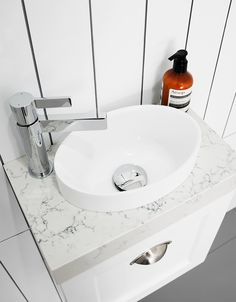 Small but mighty our Joy basin is just the right size for a tiny powder room. Available in Gloss White and Matte White. Bathroom Goals, Bathroom Inspo, White Attica Caesarstone, Inset Basin, Tiny Powder Rooms, White Tiles, Solid Surface, Bathroom Accessories, Small Spaces