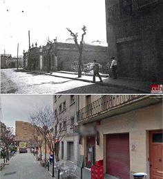 Una imatge del carrer Progrés, a tocar d'Albareda a la dècada de 1950. Al fons, hi posaran l'ambulatori i el col·legi Ramón y Cajal, L'actual 2015