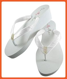 1265034408e58 Emerald Cut Bridal Wedge Flip Flops in Low Flat or High Platform Heel Ivory  or White