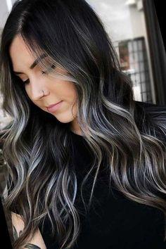 Brown Hair With Silver Highlights, Partial Highlights, Hair Color Highlights, Hair Color For Black Hair, Dark Hair, Balayage Hair, Ombre Hair, Back Tattoo Women Upper, Short Hair Styles