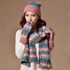 Geometric hat scarf and gloves set for women winter wear Mens Bucket Hats f19e259976e