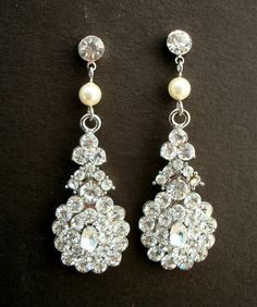 Rhinestone Bridal Earrings,  Ivory Swarovski Pearls, Flower Rhinestone Earrings, Dangle, Stud, POLLY -$30.00