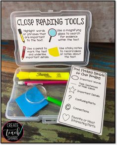 close reading tool box for kids