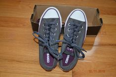 146bfabc5db Converse All Star low silhouette charcoal/purple detailing 6M #fashion  #clothing #shoes