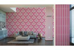 Perfekt Stylische Tapete Im Retro Style Mit Ornamenten. Kräftiges Pink Wird  Verbunden