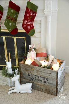 Looking for some fun and unique Christmas Decor? Build this Christmas Crate that looks Santa has sent you presents straight from the North Pole! Noel Christmas, Merry Little Christmas, Primitive Christmas, Country Christmas, Christmas Projects, Winter Christmas, All Things Christmas, Holiday Crafts, Holiday Fun
