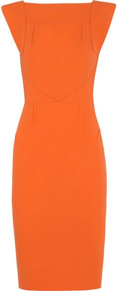 ROLAND MOURET  Orange Watson Woolcrepe Dress
