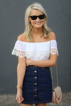 Pair the denim aline skirt with a Bardot top this summer