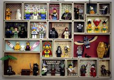 #LEGO Minifig Display.  This looks like a fun project for boys.  No directions but easy to do.