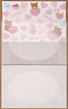Rilakkuma bear Letter Set with colourful hearts by San-X