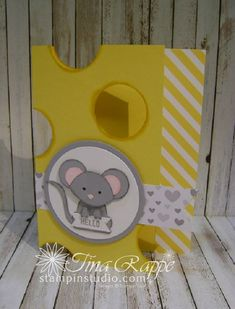 handmade card featuring a punch art mouse made with the Fox Builder Punch ... luv the Swiss cheese look of the base card with big holes cut out ... gray, yellow, white ... Stampin' Up!
