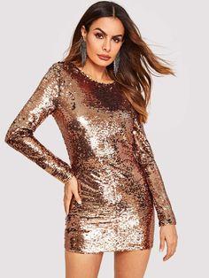 3f3b2734f778 Backless Zip Detail Sequin Dress Gold Dress, Sequin Dress, Dress P, Bodycon  Dress