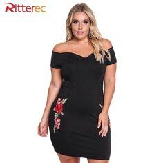 2017 Summer 5XL Plus Size Dress Woman Sexy Club Black 3XL Short Off  Shoulder Dress 4XL bb3c44b2eafb