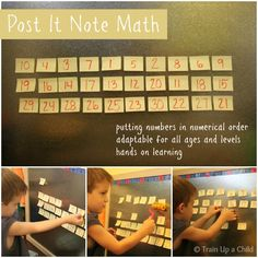 Post it note math - Ordering numbers in a hands on and fun way.  This could easily be adapted for math problems and complex facts. I could see it being used with fractions and decimals for the older kids!