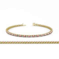 Pink Tourmaline and Diamond (SI2-I1, G-H) 3-Prong Tennis Bracelet 3.80 ct tw in 14K Yellow Gold. 23 Round Diamond & 23 Round Pink Tourmaline set using 3-Prong Setting. SI2-I1-Clarity, G-H-Color Diamond & SI1-SI2-Clarity, Pink-Color Pink Tourmaline. Gemstones may have been Treated to Improve their Appearance or Durability & may Require Special Care. The Natural Properties & Composition of Mined Gemstones define the Unique Beauty of each Piece. The Image may show Slight Differences to the...