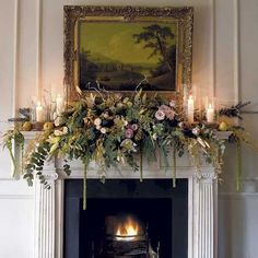Looking for Christmas mantelpiece inspiration? Make your fireplace stand out this festive period with these mantelpiece decorating ideas Christmas Mantels, Noel Christmas, Country Christmas, Christmas Wreaths, Christmas Fireplace Garland, Christmas Decorations Uk, Christmas Interiors, Christmas Flowers, Christmas Colors
