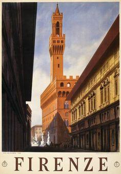 A travel poster showing historic Firenze, Italy. Stab Luigi Salomone, Roma, 1938.