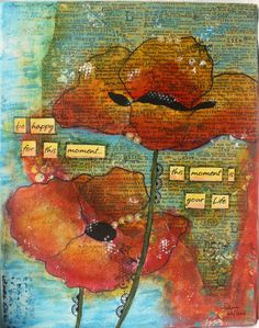 Mixed Media 8x10 canvas titled Poppies. $48.00, via Etsy.