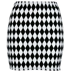 Black/White Chequered Bodycon Skirt ($18) ❤ liked on Polyvore