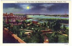 Confederate Park and Mississippi River, Memphis TN Vintage ...