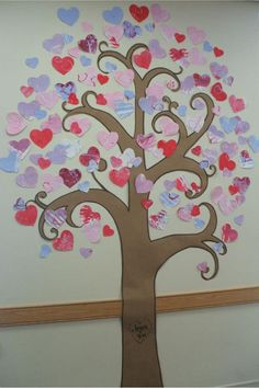 "Valentine Tree (bulletin board)-- Jesus + You = <3  I already do a ""love tree"", but I like the spin to make it ""Biblical"".  This can go with one of my love Bible lessons.  (Plus, it reminds me of my wedding invitations with the tree carving)"