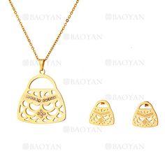 juego collar y aretes de forma bolsa moda en acero dorado inoxidable - SSNEG503516