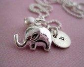 Teeny Tiny Elephant Charm Necklace $34  roll tide