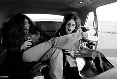 USA Photo of DEEP PURPLE and Glenn HUGHES and David COVERDALE, Glenn Hughes & David Coverdale, posed in car, sitting on back seat