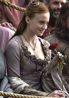 Sophie Turner as Sansa Stark in Game of Thrones. Back when she was dumb and happy