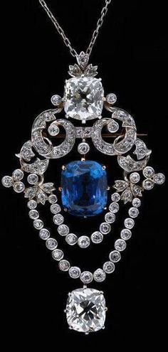 Fabulous Tiffany sapphire & diamond pendant circa 1900