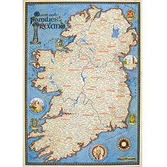 Map Of Ireland: Genealogy maps of Ireland: Border Art - Our genealogy clan maps of Scotland and Ireland and Irish and Scottish clan crest merchandise will help you discover the lands of your ancestors and the origins of your clan or family name.