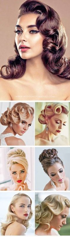24 Utterly Gorgeous Vintage Wedding Hairstyles :heart: From Gatsby style and. Hairstyles, 24 Utterly Gorgeous Vintage Wedding Hairstyles :heart: From Gatsby style and sensational chignons to retro rolls, vintage wedding hairstyl. Wedding Hair And Makeup, Hair Makeup, Wedding Nails, Hair Wedding, Makeup Hairstyle, 1950s Wedding Hair, Fringe Hairstyle, Gatsby Wedding, Retro Hairstyles